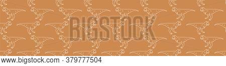 Seamless Background Simple Carnotaurus Dinosaur Gender Neutral Baby Border Pattern. Simple Whimsical
