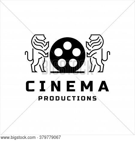 Movie Roll Film Icon. Isolated Vector Icon. Black Film Roll Icon With Two Lions, White Background