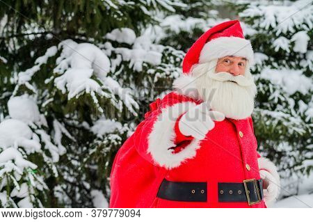 Santa Claus Greets In The Snowy Coniferous Forest In December. Christmas Time. An Elderly Gray-haire