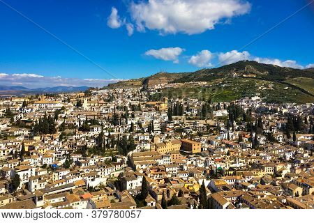 Panoramic View Of The City And Hillside Of Beautiful Colonial Granada, Andalusia / Spain On A Clear