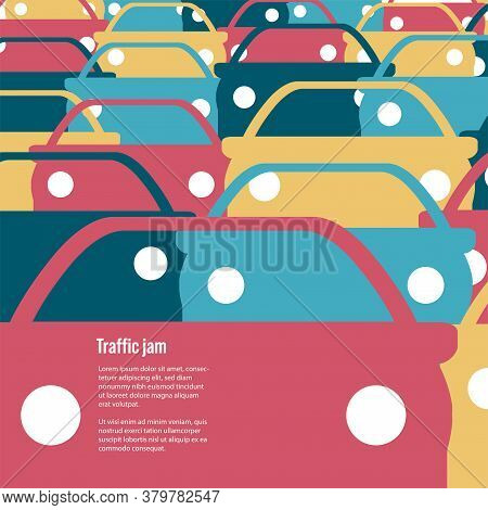 Many Cars Of Different Colors. Road Congestion. Traffic Jams. Automotive Sharp Or Pattern.