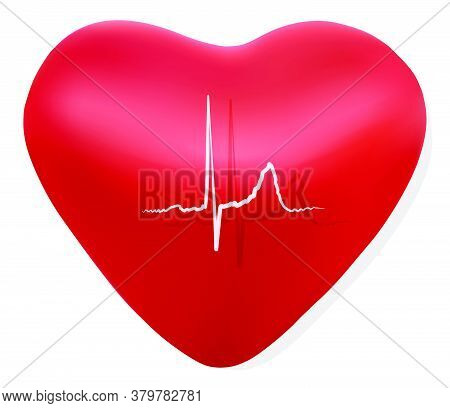 Red Volumetric Heart Isolated On A White Background. Cardiogram On The Heart. Background For Clinics
