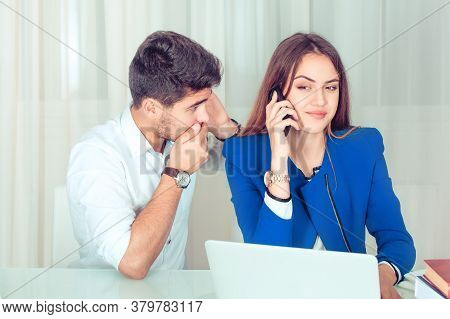 Young Shocked Surprised Man Eavesdropping Secretly Listening Juicy Gossip Conversation On Call Of Yo