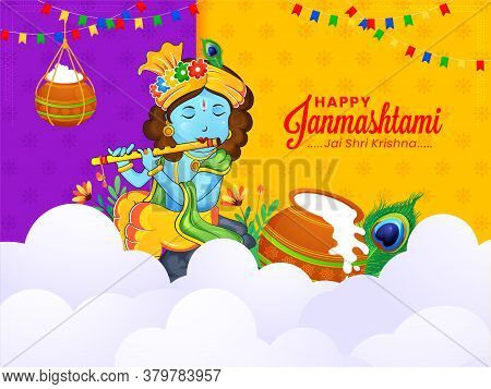 Creative Paper Style Indian Traditional Background Design For Celebration Of Janmashtami Festival Of