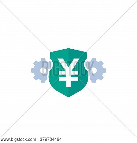 Yen Vector Icon With Shield, Eps 10 File, Easy To Edit