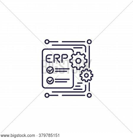 Erp, Enterprise Resource Planning Icon, Line Design, Eps 10 File, Easy To Edit