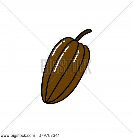 Cacao Fruit Doodle Icon, Vector Color Illustration