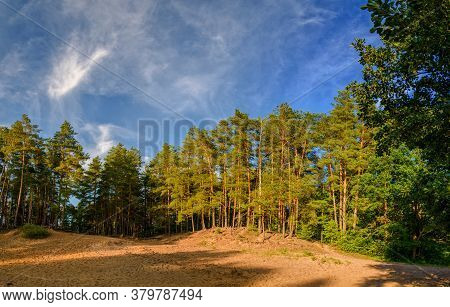 Beautiful Landscape With Pines On The Sandy Cliff On The Background Of Blue Sky With White Clouds/ba