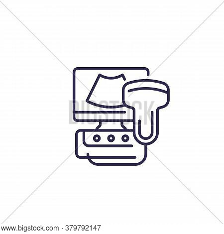 Ultrasound Machine Icon On White, Line, Eps 10 File, Easy To Edit