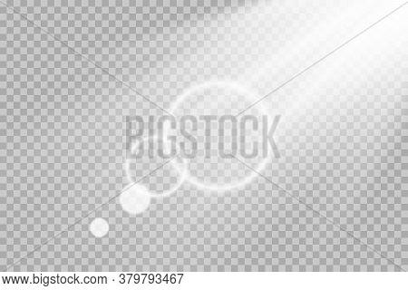 Shining Sun Glare Rays, Lens Flare Vector Illustration. Sunlight Glowing Png Effect. White Beam Sunr
