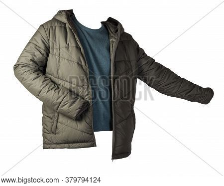Dark Green Jacket And Turquoise Sweater Isolated On White Background.bologna Jacket And Wool Sweater