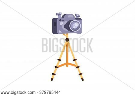 Modern Tripod With A Camera In A Flat Style.