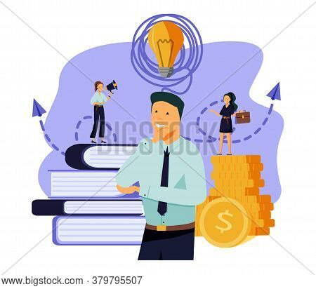 Vector Flat Illustration, Business Meeting And Brainstorming, Business Concept For Teamwork, Searchi