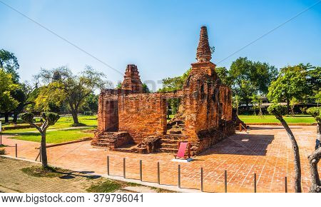 Ruin Of Old Traditional House In Ayutthaya Province, Thailand On A Sunny Day