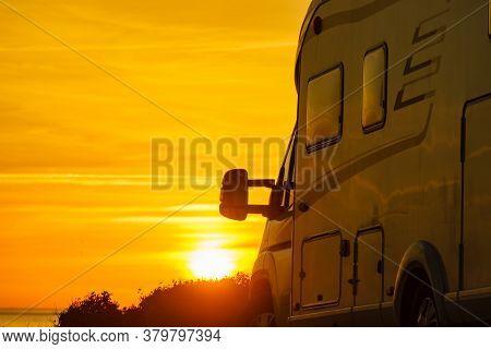 Camper Rv At Sunrise On Mediterranean Coast Costa Del Sol, Andalucia Spain. Camping On Nature Beach.