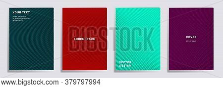 Semicircle Lines Halftone Covers Vector Collection. Futuristic Brochure Title Page Layouts. Notepad,