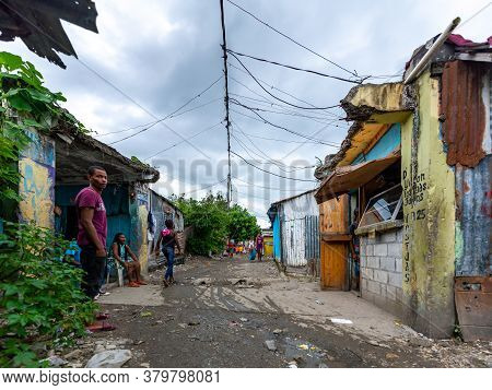 San Cristobal / Dominican Republic - May 16 2018: Small Houses Built As Refuge For People From Natur