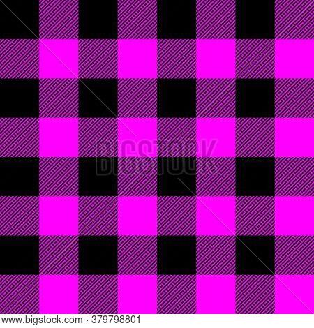 Tartan Plaid. Scottish Pattern In Black And Fuchsia Cage. Scottish Cage. Traditional Scottish Checke