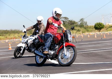 Campinas, Sao Paulo / Brazil - July 31, 2013: Motorcyclists Are Seen During Test Drive With Honda Mo