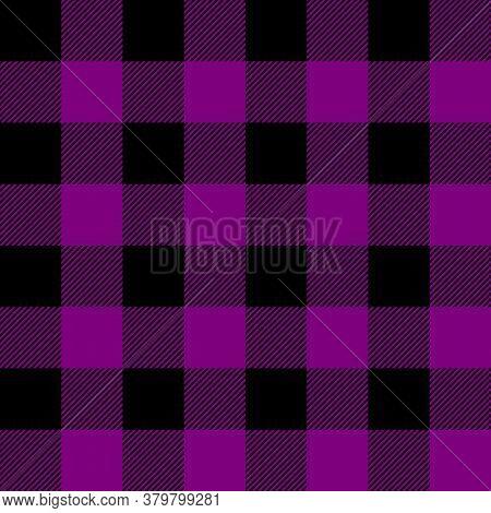 Tartan Plaid. Scottish Pattern In Black And Purple Cage. Scottish Cage. Traditional Scottish Checker