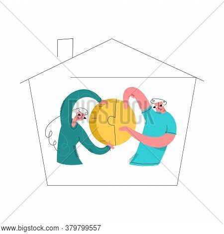 Vector Flat Illustration Young Married Couple In Abstract House Holding Coin In Form Of Puzzle That