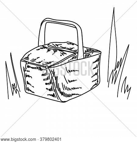 Picnic Basket In Grass, Outline Shading Wicker Texture, Vector Hand Draw Illustration For Design And
