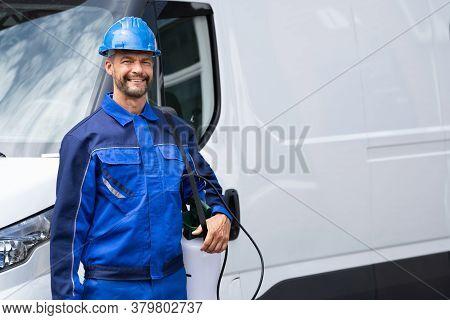 Pest Control Exterminator Service Worker Near Van Car