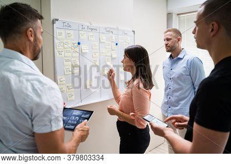 Kanban White Board Task Plan. Scrum Business Management