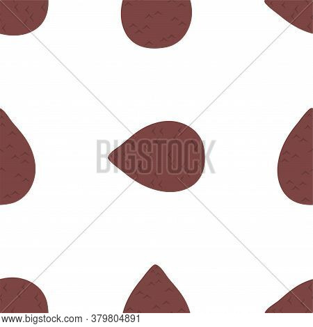 Salak Fruit. Seamless Vector Patterns On White Background