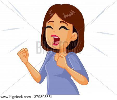Woman Screaming In Desperation Vector Cartoon  Illustration