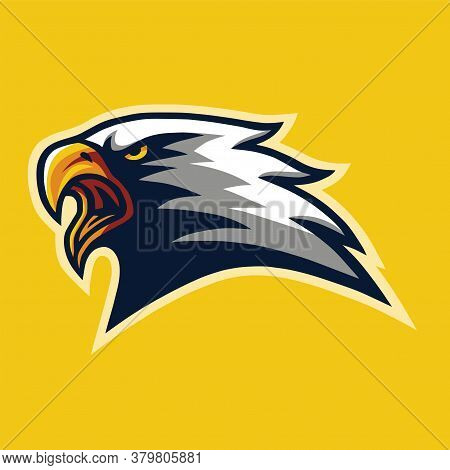 Furious Eagle Head Mascot Logo Mascot Design Cartoon Vector Illustration