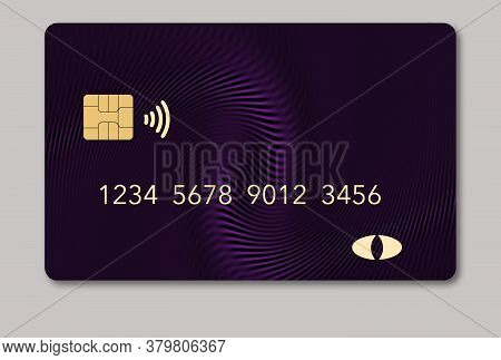 Here Is A Blank Credit Or Debit Card With Room For Your Text. It Is A Mauve Color With A Geometric D