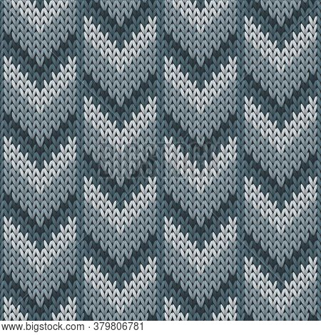 Material Downward Arrow Lines Knitted Texture Geometric Seamless Pattern. Pullover Knitwear Structur