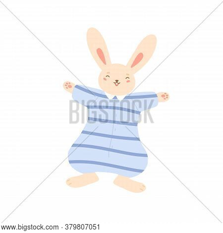 Smiling Funny Rabbit In Striped Overalls Vector Flat Illustration. Happy Bunny Wearing Cute Pajamas