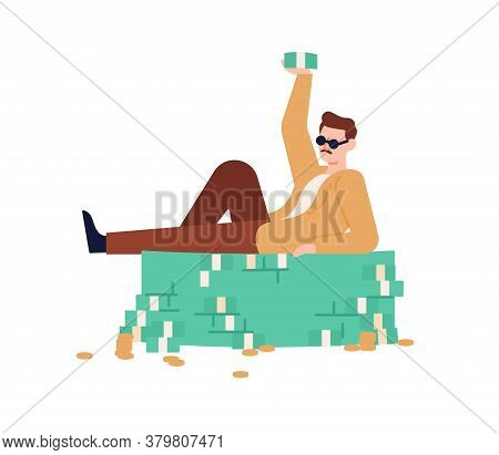 Rich Guy In Sunglasses Lying On Heap Of Cash And Coins Vector Flat Illustration. Male Millionaire Ra