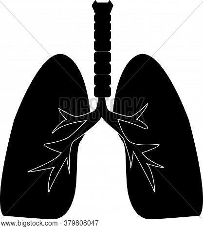 Lungs Icon On White Background. Human Internal Organ Sign. Human Lungs Symbol. Sars Disease. Flat St