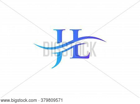 Water Wave Jl Logo Vector. Swoosh Letter Jl Logo Design For Business And Company Identity.