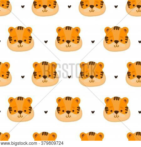 Vector Funny Flat Cartoon Tiger Heads Seamless Pattern. Tiger Background. Seamless Pattern With A Ti