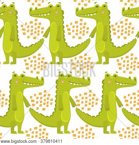 Seamless Watercolor Crocodile Pattern. Vector Background With Alligators. Seamless Pattern With A Cr
