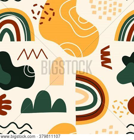 Hand Drawn Vector Seamless Pattern Of Spots And Dots. Geometric Shapes On A Light Beige Background.