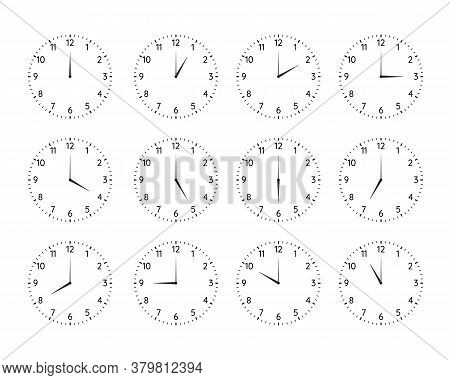 Classic Round Clock Dial Plates Collection. Clock And Watch Faces With Arabic Numerals And Full Day