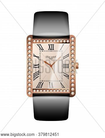 Women Luxurious Wrist Watch. Expensive Gold Watch With Diamonds And Leather Strap. Conception Of Pun