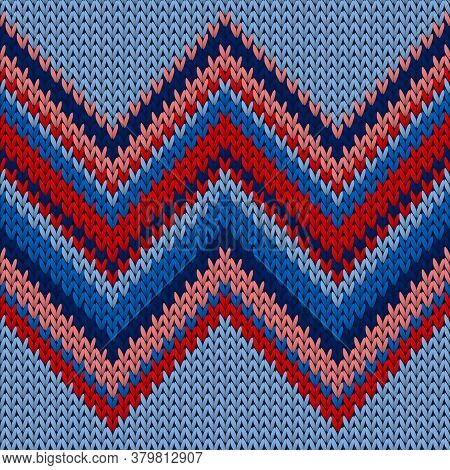 Handmade Zig Zal Lines Knitting Texture Geometric Seamless Pattern. Scarf Knitwear Structure Imitati