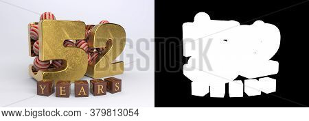 Number 52 (number Fifty-two) Anniversary Celebration Design With Round Candies And The Inscription Y