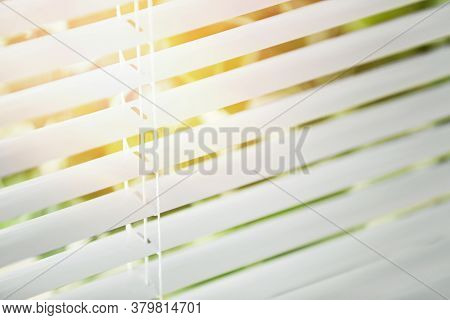 Window With Blinds On Sunny Day, Closeup