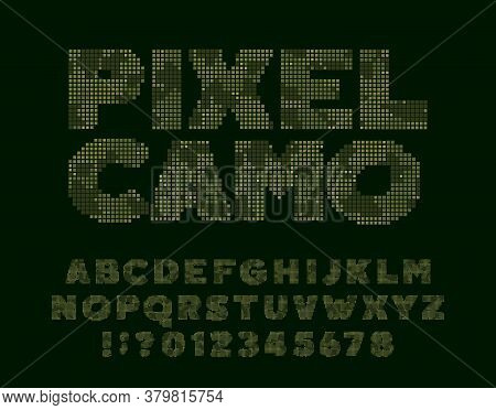 Pixel Camo Alphabet Font. Computer Letters And Numbers. 80s Arcade Video Game Typescript.