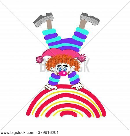 Funny Clown. A Cheerful Clown Stands On A Colorful Rainbow.