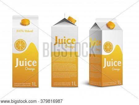 Realistic Mockup Of Pack And Box Of Orange Juice.