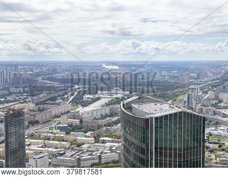 Aerial View Of Center Of Moscow From Observation Deck  Federation Tower In International Business Ce
