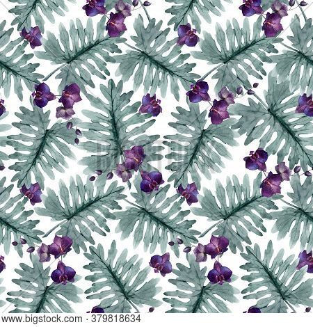 Beautiful Seamless Pattern With Watercolor Tropical Leaves And Orchid Flowers. Stock Illustration